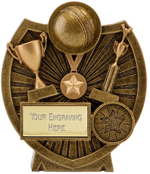 "Gold Resin Century Shield Cricket Trophy 13.5cm (5.25"")"