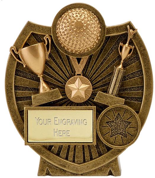"Antique Gold Resin Century Shield Hockey Trophy 9cm (3.5"")"