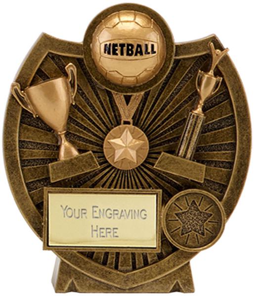 "Antique Gold Resin Century Shield Netball Trophy 11.5cm (4.5"")"