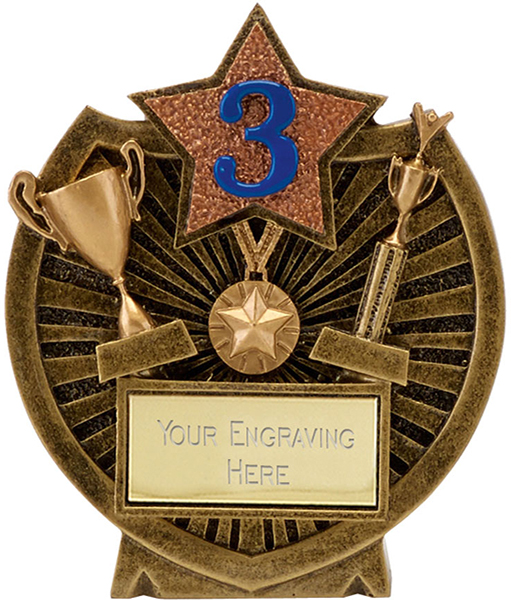 "Antique Gold Resin Century Shield 3rd Place Trophy 9cm (3.5"")"