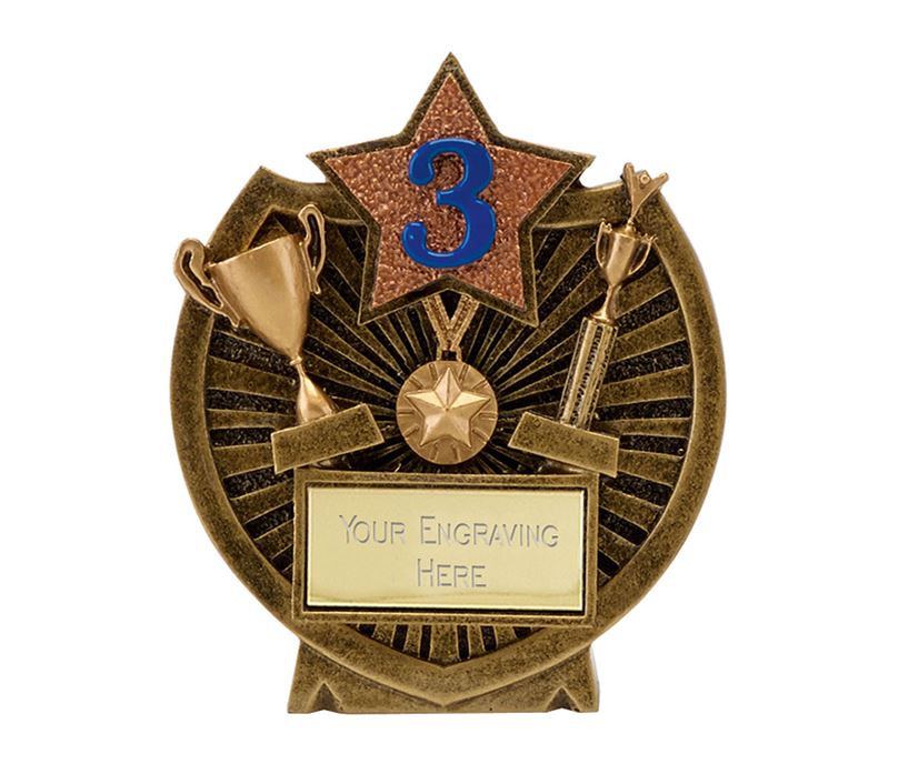 "Antique Gold Resin Century Shield 3rd Place Trophy 9cm (3.5"")"