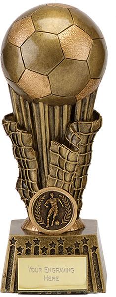 """Gold Resin Ball & Net Football Trophy 35.5cm (14"""")"""