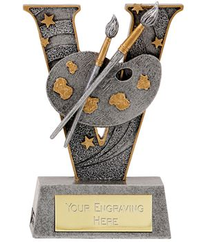 "Antique Silver Resin Victory Artist Painting Trophy 12.5cm (5"")"