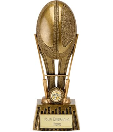 """Antique Gold Focus Rugby Ball Trophy 20.5cm (8"""")"""