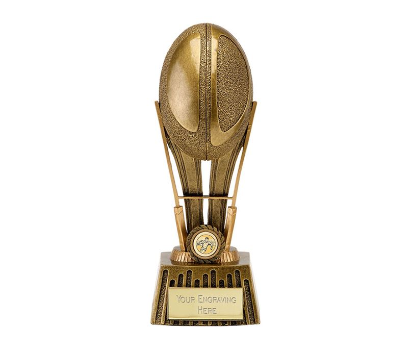 "Antique Gold Focus Rugby Ball Trophy 20.5cm (8"")"