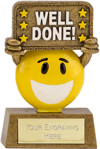 "Gold & Yellow Resin Happy Face Well Done Trophy 9cm (3.5"")"