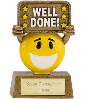 """Gold & Yellow Resin Happy Face Well Done Trophy 9cm (3.5"""")"""
