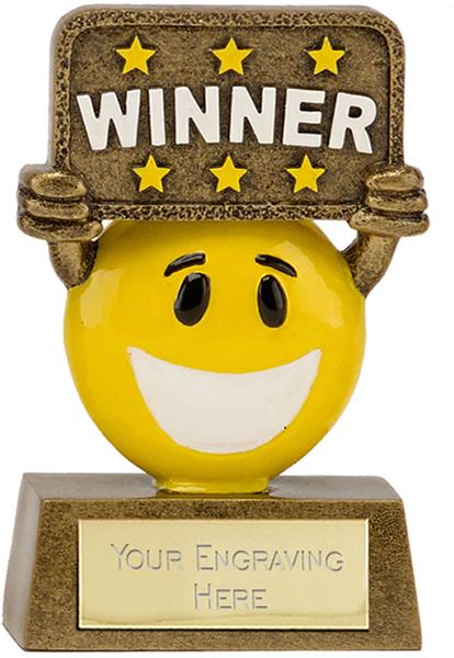 "Gold & Yellow Resin Happy Face Winner Trophy 9cm (3.5"")"