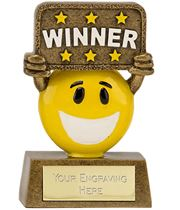 "Gold & Yellow Resin Happy Face Winner Trophy 9cm (3.5"")"