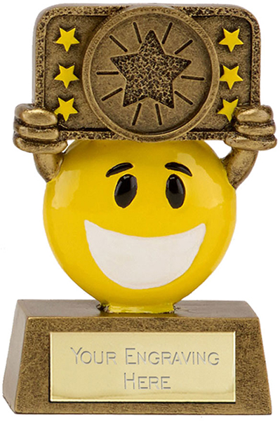 """Gold & Yellow Resin Happy Face Multi Star Trophy 9cm (3.5"""")"""