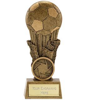 "Antique Gold Resin Football & Net Trophy 11cm (4.25"")"