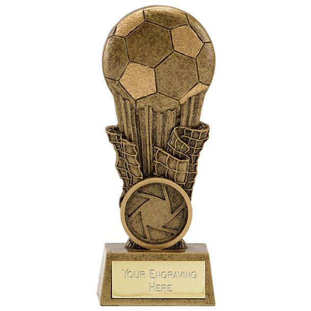 "Antique Gold Resin Football & Net Trophy 11cm (4.25"")"