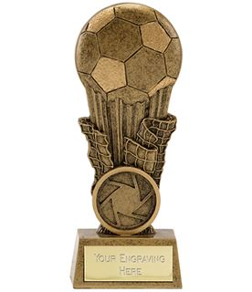 "Antique Gold Resin Football & Net Trophy 10cm (4"")"