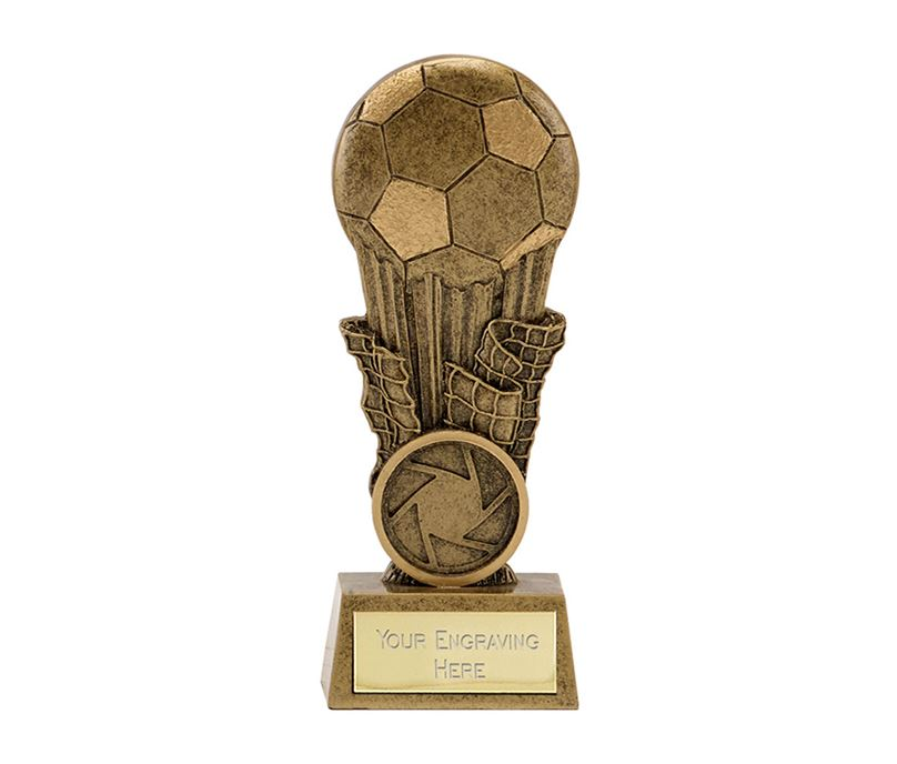 "Antique Gold Resin Football & Net Trophy 10cm (4"")"