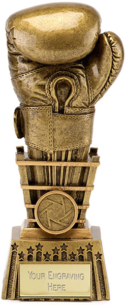 "Antique Gold Resin Focus Boxing Glove Trophy 23cm (9"")"