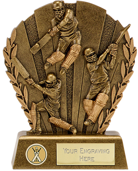 "Gold Resin Action Cricket Trophy with Leaf Design 9cm (3.5"")"