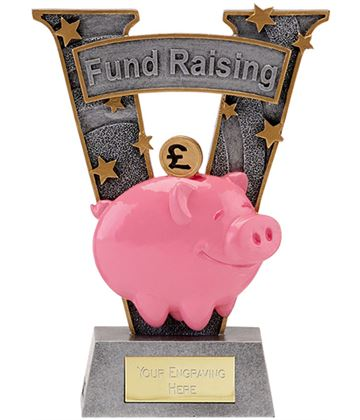 "Antique Silver Resin Piggy Bank Fund Raising Trophy 18.5cm (7.25"")"