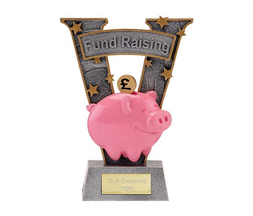 "Antique Silver Resin Piggy Bank Fund Raising Trophy 18.5cm (7.25"")"