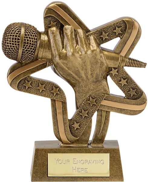 "Gold Resin Stars & Stripes Microphone Singing Trophy 17cm (6.75"")"