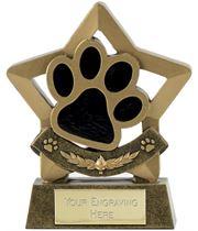"Star Dog or Cat Paw Pet Trophy 14cm (5.5"")"