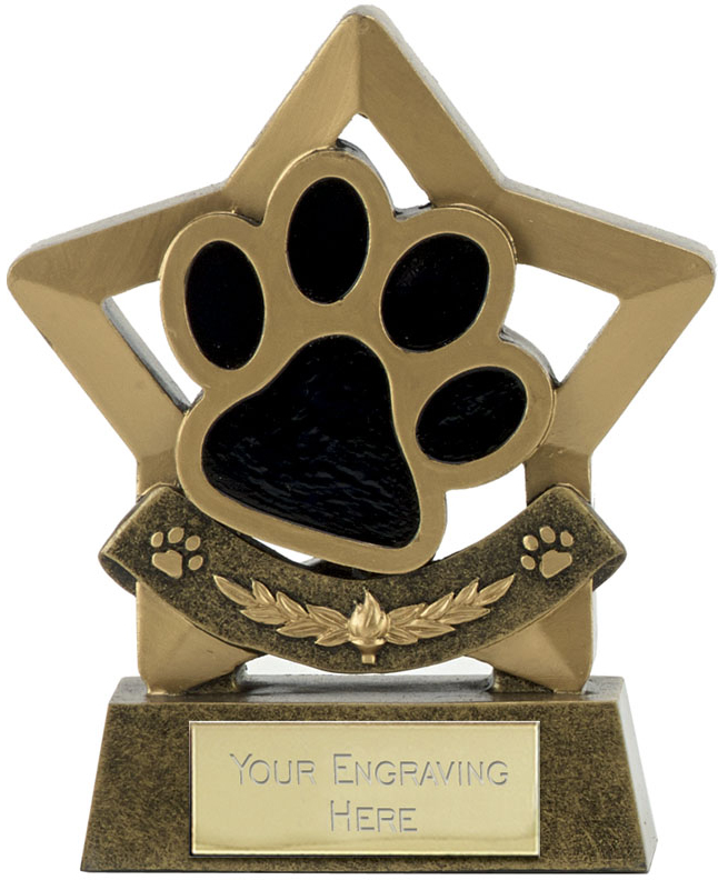 "Star Dog or Cat Paw Pet Trophy 11cm (4.25"")"