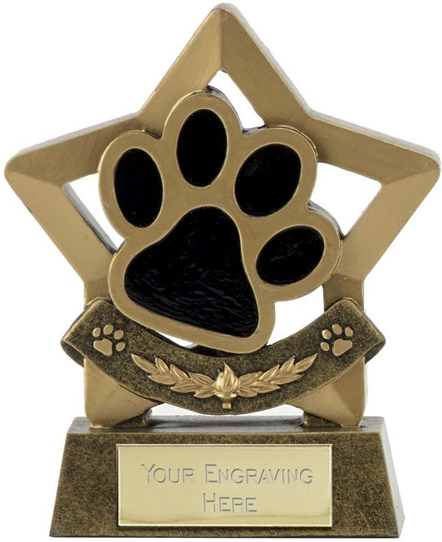 "Star Dog or Cat Paw Pet Trophy 11cm (4.25"")"