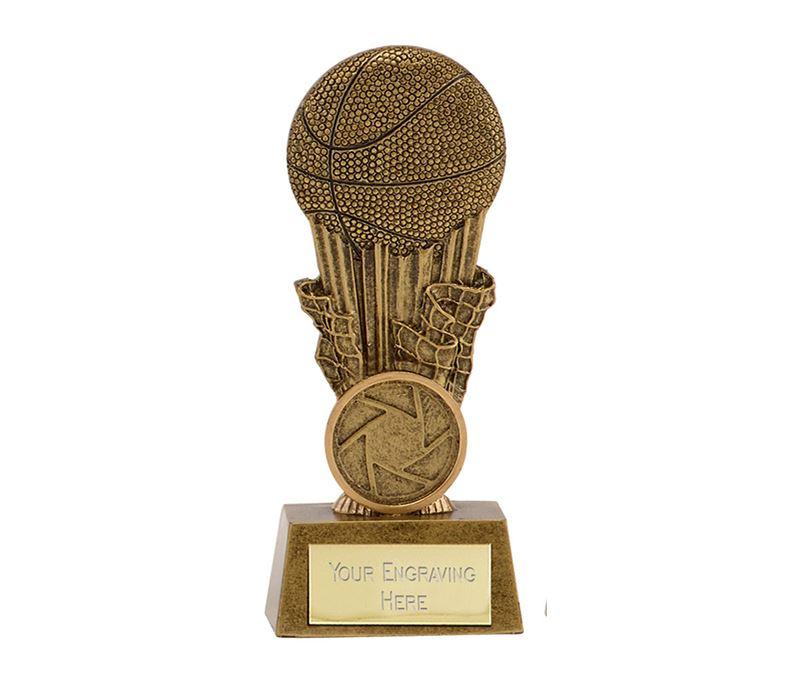 "Antique Gold Resin Focus Basketball Trophy 11cm (4.25"")"