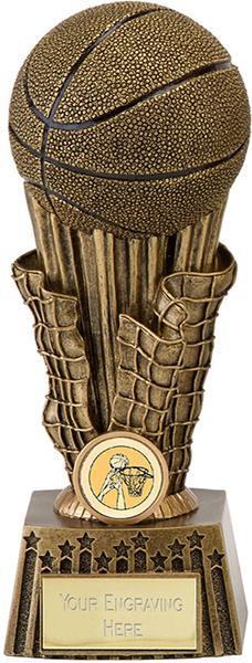 "Antique Gold Resin Basketball & Net Trophy 20.5cm (8"")"