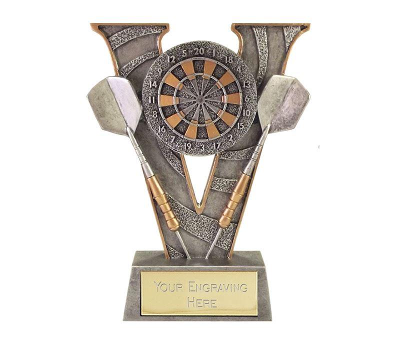 """Antique Silver Victory Darts & Dartboard Trophy 15cm (6"""")"""