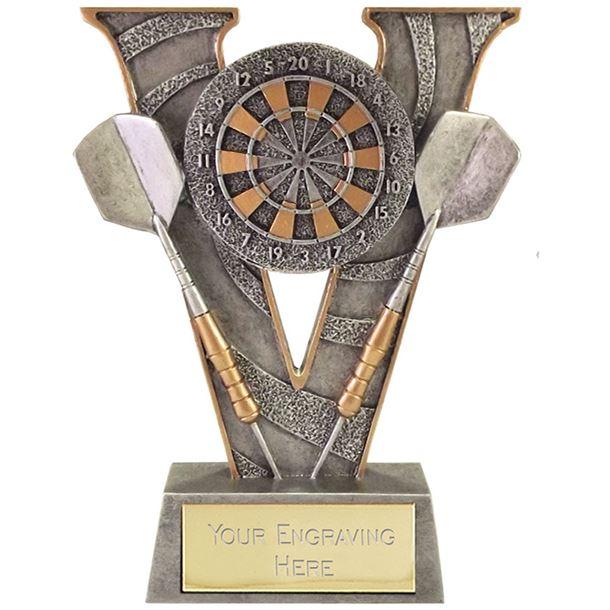 """Antique Silver Victory Darts & Dartboard Trophy 18.5cm (7.25"""")"""