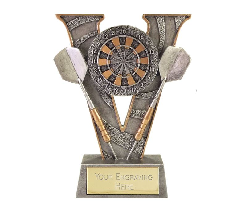 "Antique Silver Victory Darts & Dartboard Trophy 18.5cm (7.25"")"