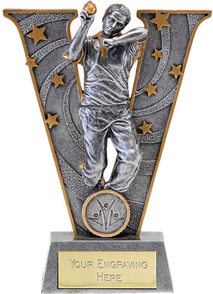"Silver Resin Victory Cricket Bowler Trophy 18.5cm (7.25"")"