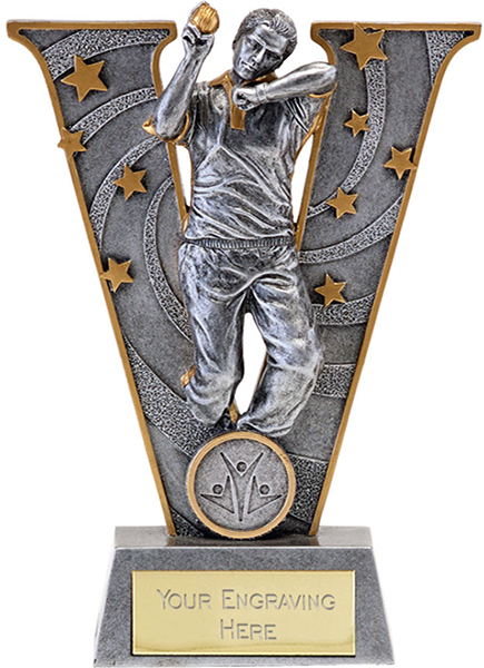 "Silver Resin Victory Cricket Bowler Trophy 18.5cm (7.25"")"