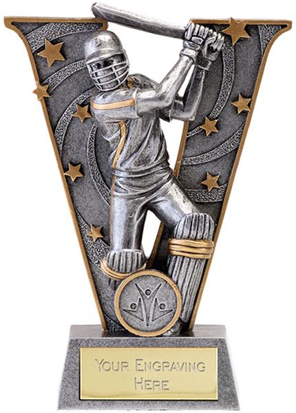"Silver Resin Victory Cricket Batsman Trophy 18.5cm (7.25"")"