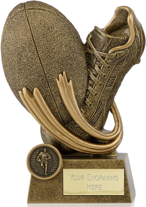 """Epic Resin Rugby Boot & Ball Trophy 11.5cm (4.5"""")"""