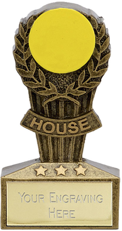 "Micro Trophy Yellow House Award 7.5cm (3"")"