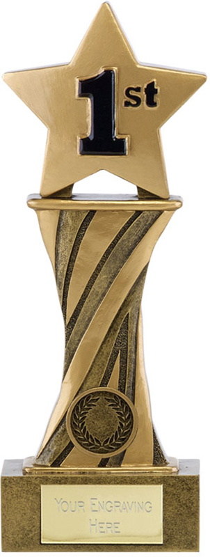 "Showcase Antique Gold Resin Star First Award 21.5cm (8.5"")"