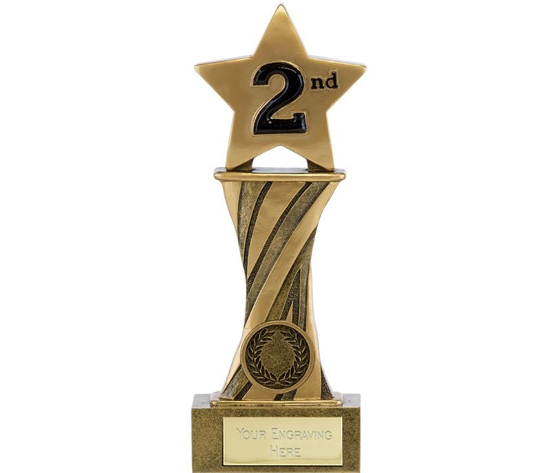 "Showcase Antique Gold Resin Star Second Award 18cm (7"")"