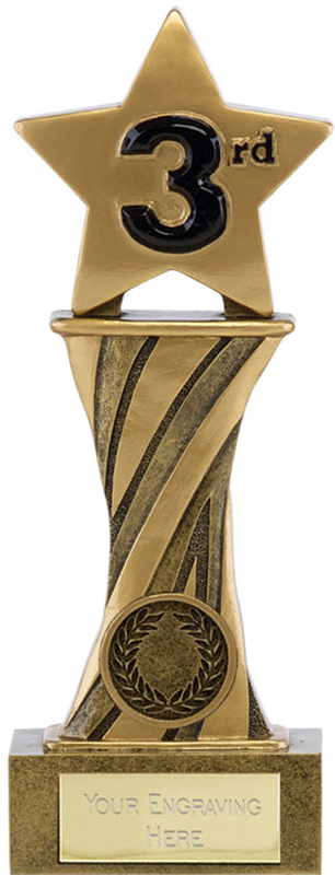"Showcase Antique Gold Resin Star Third Award 18cm (7"")"