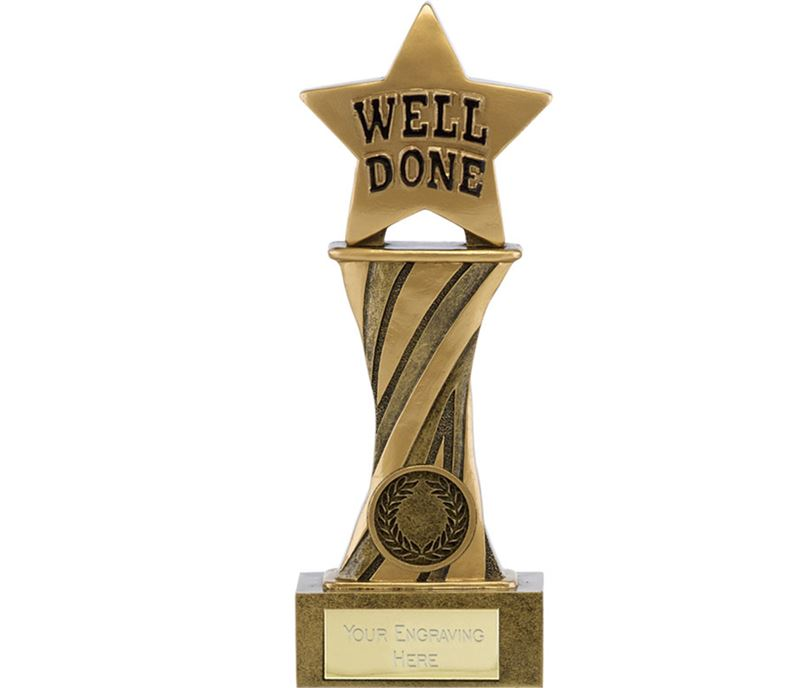 "Showcase Antique Gold Resin Star Well Done Award 18cm (7"")"