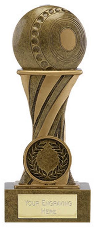 "Showcase Antique Gold Resin Lawn Bowls Award 14cm (5.5"")"