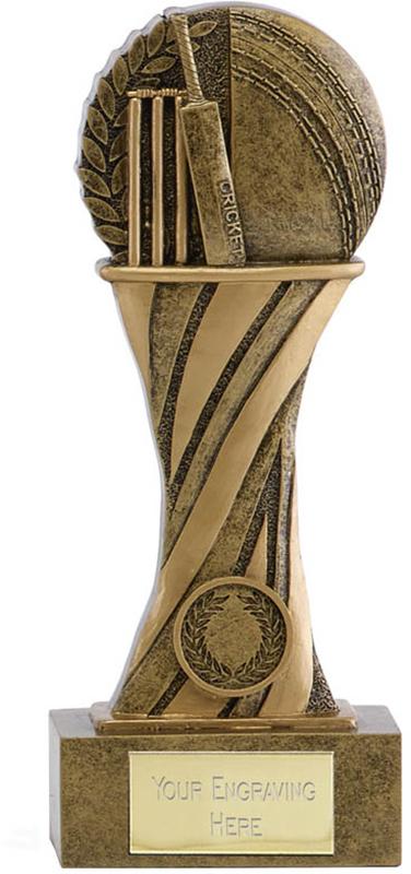 """Showcase Antique Gold Resin Cricket Award 21.5cm (8.5"""")"""