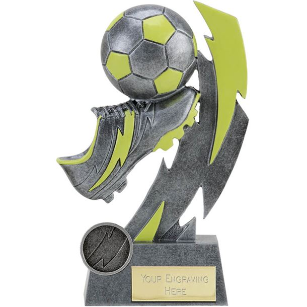 "Glow in the Dark Antique Silver Boot and Ball Trophy 14.5cm (5.75"")"