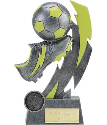 "Glow in the Dark Antique Silver Boot and Ball Trophy 17cm (6.75"")"