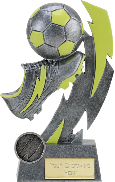 "Glow in the Dark Antique Silver Boot and Ball Trophy 19.5cm (7.75"")"