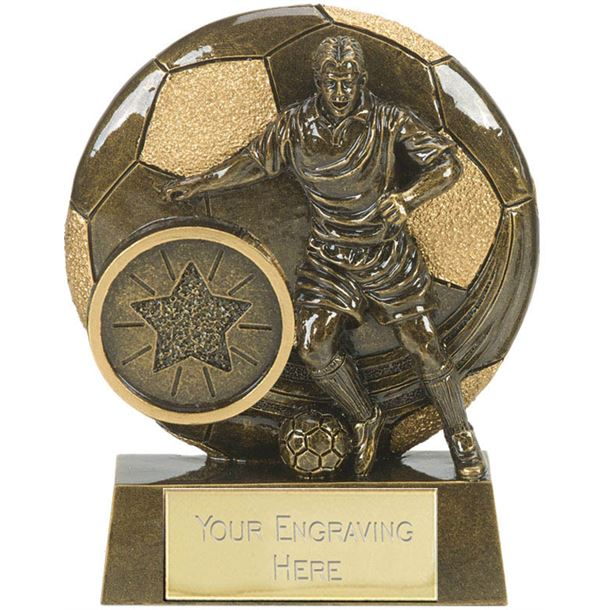 "Football Action Shield Trophy Antique Gold 8cm (3.25"")"