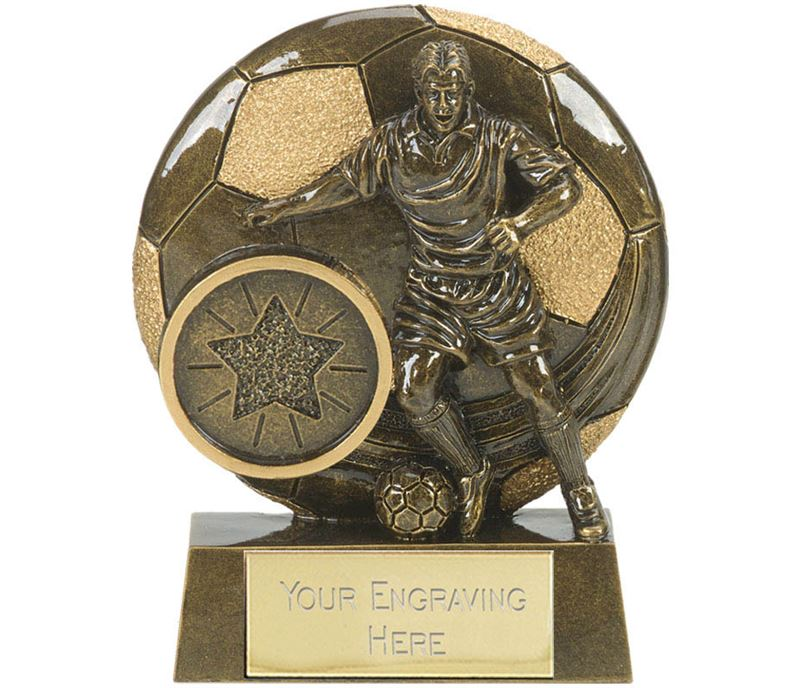 """Football Action Shield Trophy Antique Gold 8cm (3.25"""")"""