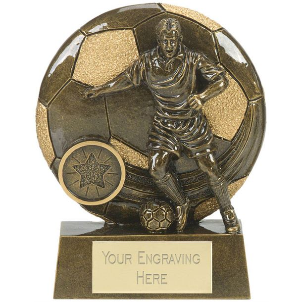 """Football Action Shield Trophy Antique Gold 10cm (4"""")"""