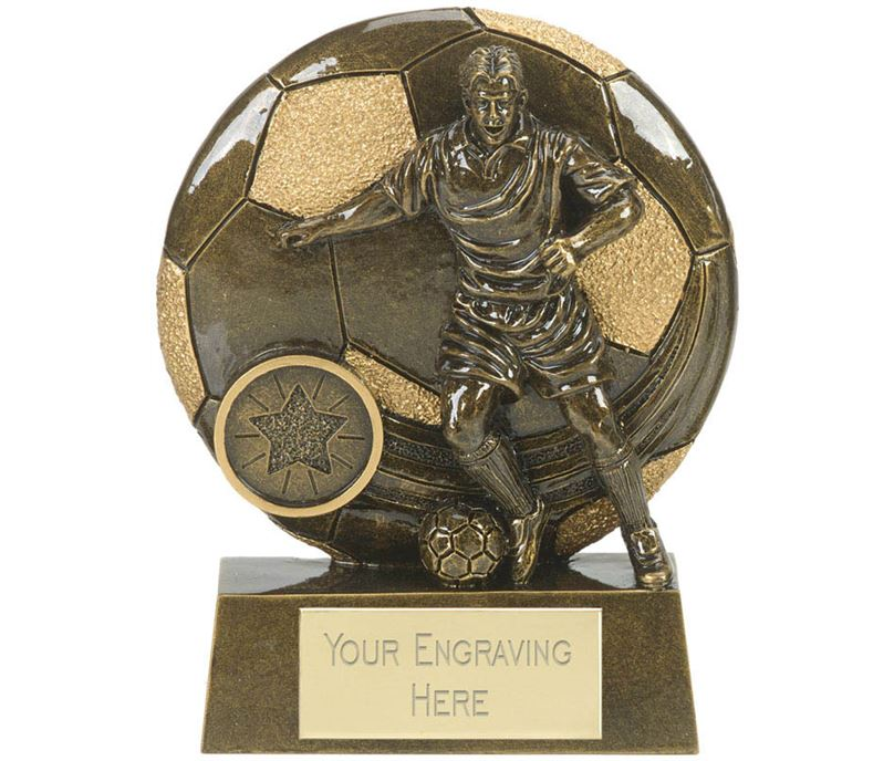 "Football Action Shield Trophy Antique Gold 10cm (4"")"