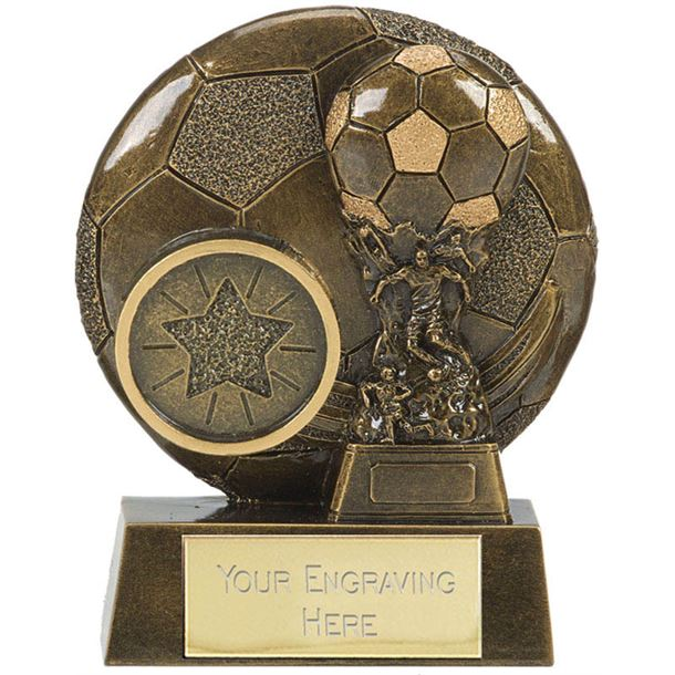 """Football Cup Shield Trophy Antique Gold 8cm (3.25"""")"""